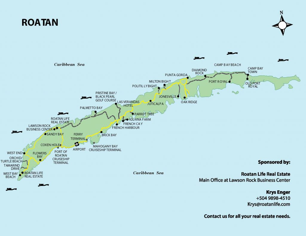 map of Roatan island